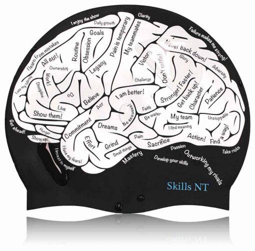 brain swim cap, black, swimming cap, cool swimming cap, cool silicone swimming cap, fashionable swim cap, swim cap, swimwear, cool swim cap designs