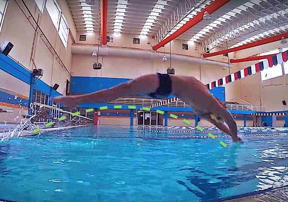 competitive backstroke start swimming, salida competitiva de dorso o espalda