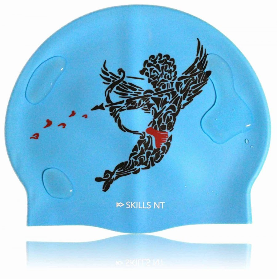 love swim cap, cupid swimming cap, blue swim cap, swimming cap, cool swimming cap, cool silicone swimming cap, fashionable swim cap, swim cap, swimwear, cool swim cap designs