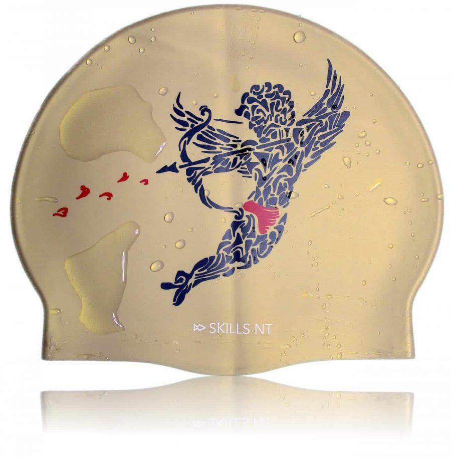 love swim cap, cupid swimming cap, gold swim cap, swimming cap, cool swimming cap, cool silicone swimming cap, fashionable swim cap, swim cap, swimwear, cool swim cap designs