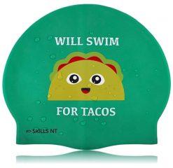 taco swim cap, food swim cap, will swim for cap, green swim cap, swimming cap, cool swimming cap, cool silicone swimming cap, fashionable swim cap, swim cap, swimwear, cool swim cap designs