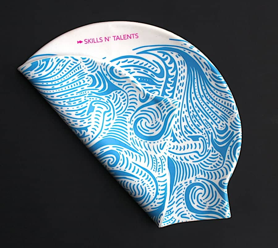 gorros de natacion azul olas